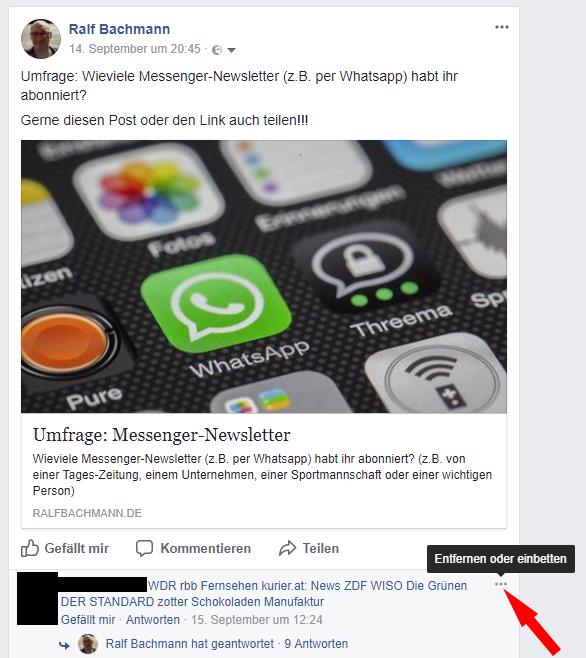 Facebook Kommentare einbinden - kleines Menü