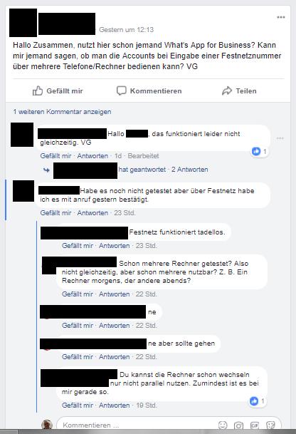 WhatsApp Business - Facebook Screenshot