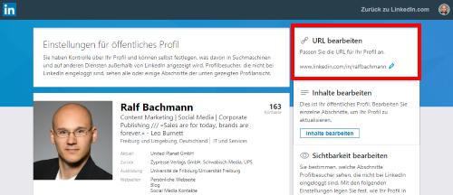 LinkedIn persönliche URL 2