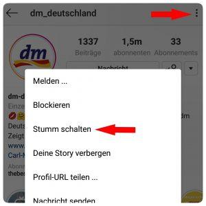 Instagram Profile stumm schalten