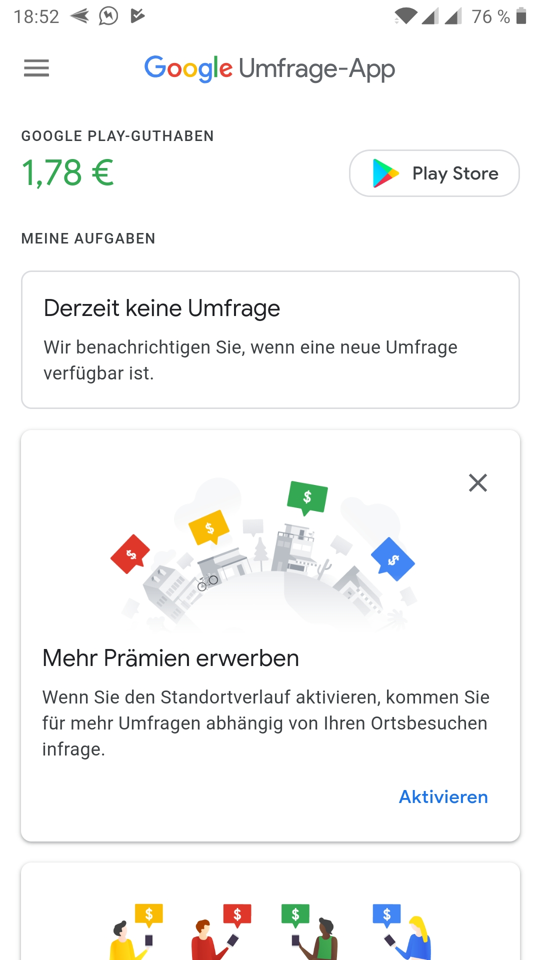 Google Umfrage App - Screenshot